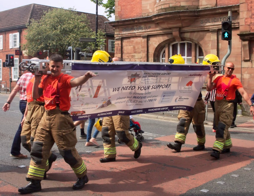 Trafford Firefighters walk to Manchester Airport for charity