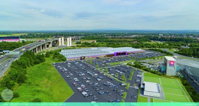 CGI aerial view new football centre