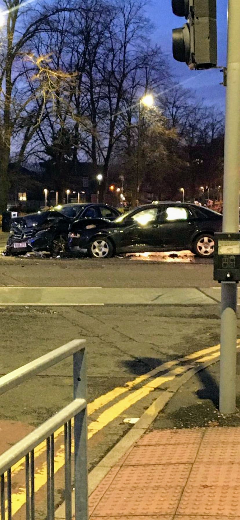 Two car collision: Pic Oliver Burrows