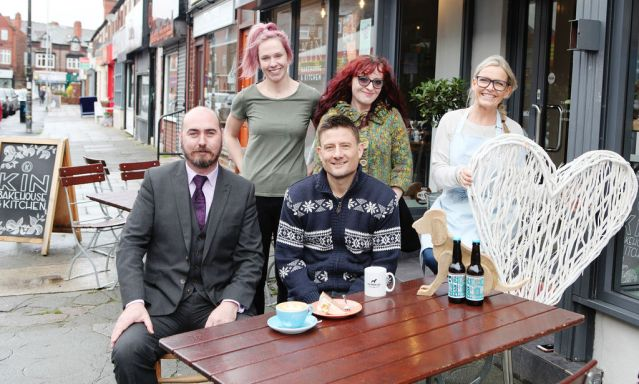 Urmston small business owners Wayne Devlin & Mark Rackham (front) Kerry Armstrong, Beverley Jesson & Caroline Foley