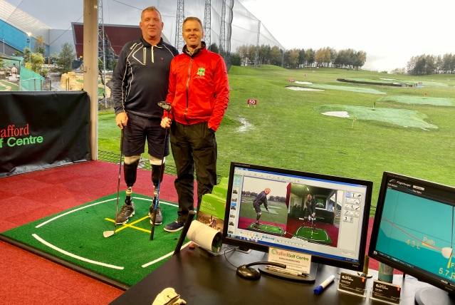 Bernie Broad with Director of Golf at Trafford Golf Centre, Pete Styles