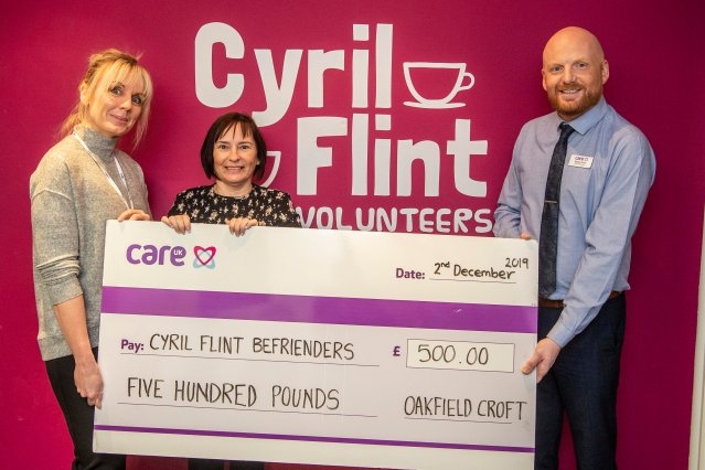 Jane Eyre, Care UK customer relations manager, Alison McKenna, charity co-ordinator at Cyril Flint and Dan Cole, home manager at Oakfield Croft.