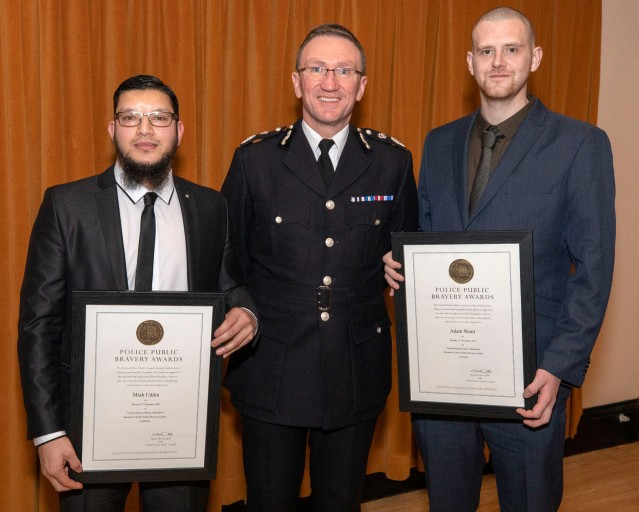 Miah Uddin and Adam Ward with Chief Constable Ian Hopkins